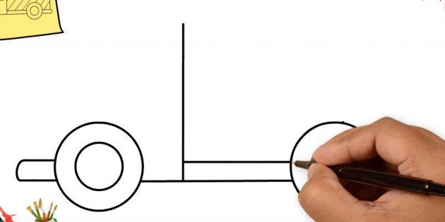 Как нарисовать грузовик: добавьте две прямые линии