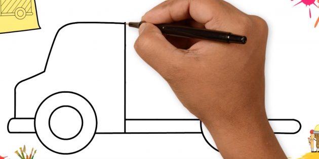 Как нарисовать грузовик: нарисуйте переднюю часть машины