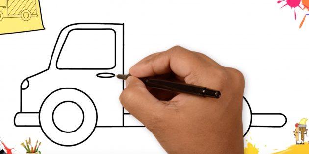 Как нарисовать грузовик: нарисуйте фару, окно и ручку