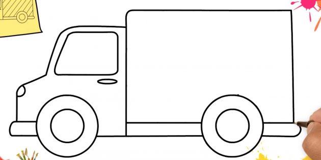Как нарисовать грузовик: дорисуйте кузов