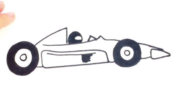 Как нарисовать гоночную машину: добавьте узор, стекло и шлем
