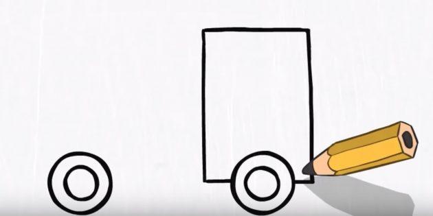 Как нарисовать пожарную машину: нарисуйте прямоугольник