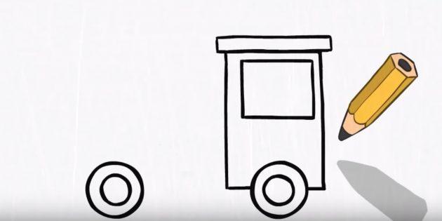 Как нарисовать пожарную машину: добавьте окно и крышу