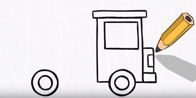 Как нарисовать пожарную машину: оформите переднюю часть