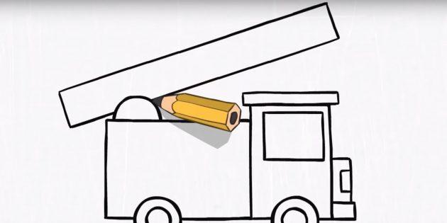 Как нарисовать пожарную машину: сделайте очертания лестницы