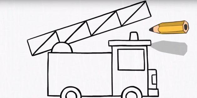 Как нарисовать пожарную машину: дорисуйте лестницу и маячок