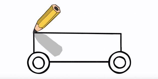 Как нарисовать полицейскую машину: соедините колёса сверху и снизу