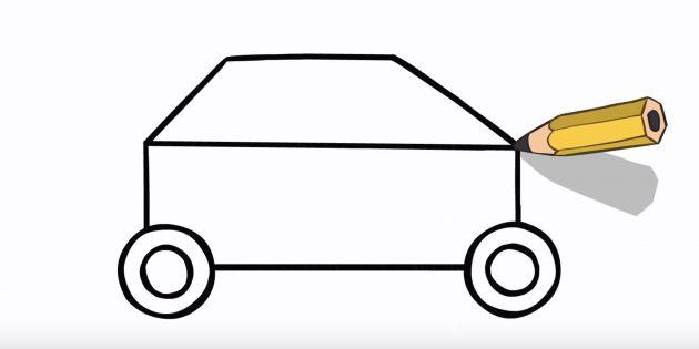Как нарисовать полицейскую машину: нарисуйте верх машины