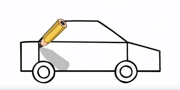 Как нарисовать полицейскую машину: нарисуйте заднюю часть