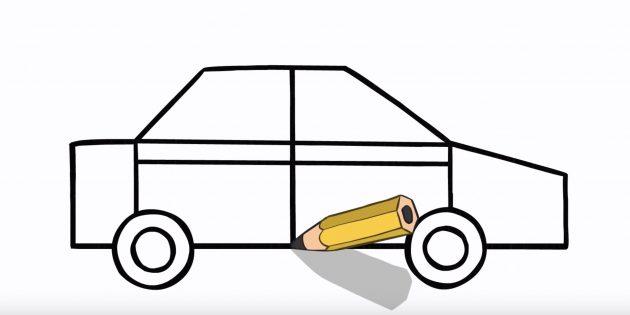 Как рисовать машину: обозначьте дверцы