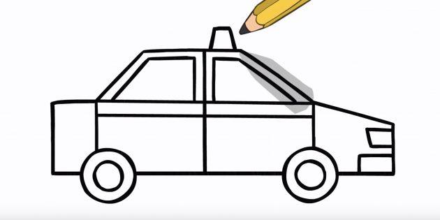 Как рисовать машину: нарисуйте фары и маячок