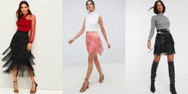 Модные юбки — 2020: модели с бахромой