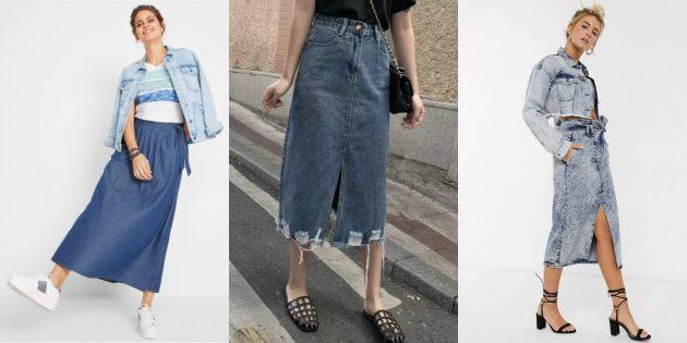 Модные юбки — 2020: длинные джинсовые юбки