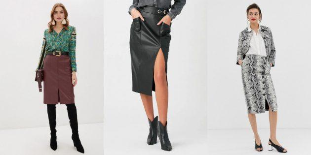 Строгие модные юбки под кожу
