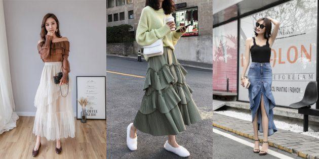 Модные юбки с многоярусными оборками