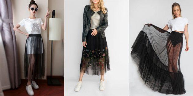 Модные прозрачные юбки-сетки
