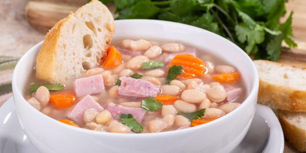 Суп с фасолью и ветчиной: простой рецепт