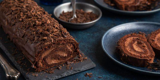 Как приготовить шоколадно-кофейный бисквитный рулет