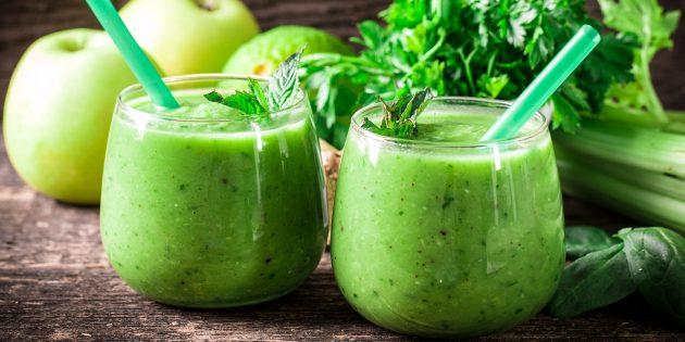 Рецепты диетических блюд: смузи из яблок и сельдерея