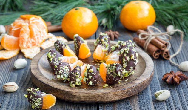Мандарины в шоколаде. Самый простой новогодний десерт