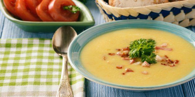 Сырный крем-суп на курином бульоне, пиве и молоке