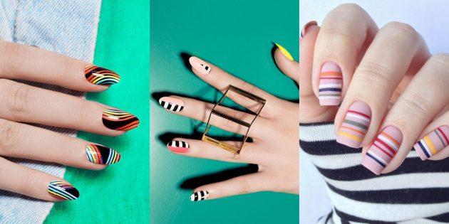 Яркий дизайн ногтей: полоски