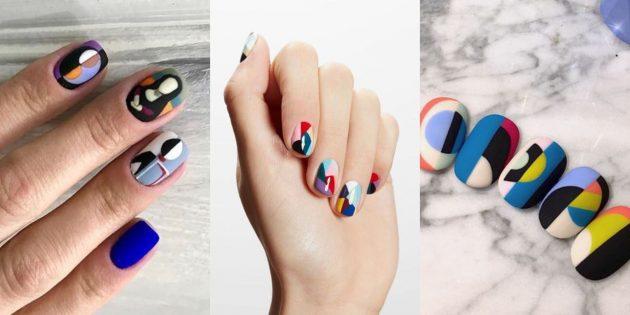 Яркий дизайн ногтей: супрематизм