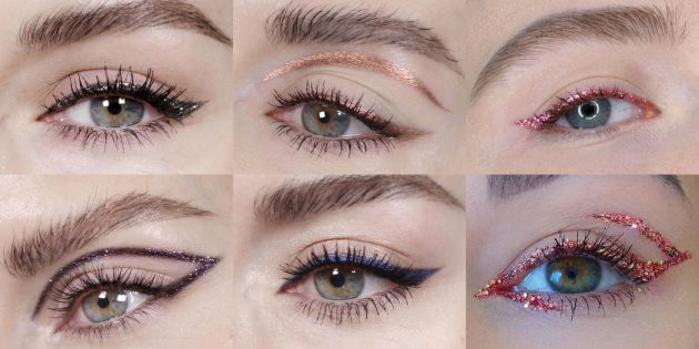 Макияж с блёстками для глаз: экспериментируйте с блестящими стрелками