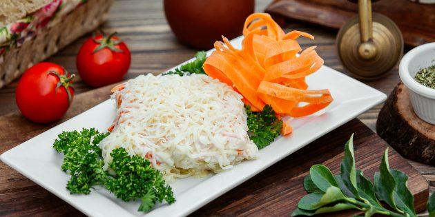 Салат «Невеста» с морковью и зелёным луком