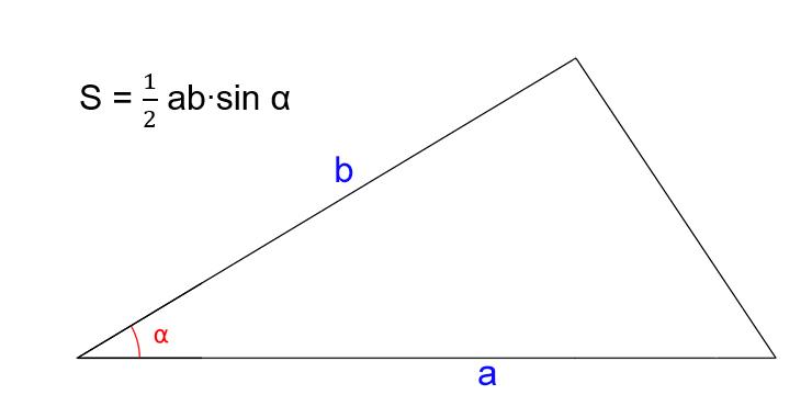 Как найти площадь треугольника, зная две стороны и угол между ними