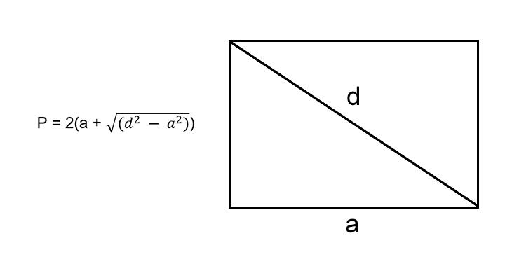Как вычислить периметр прямоугольника, зная любую сторону и диагональ