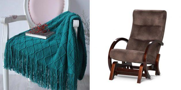Подарки бабушке на 8Марта: кресло-качалка и плед