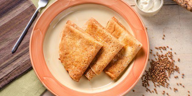 Веганские блины из гречневой и пшеничной муки на гречневом молоке