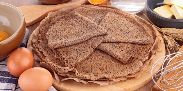 Блины из гречневой муки без добавления пшеничной