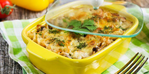 Макаронная запеканка с грибами и шпинатом: простой рецепт