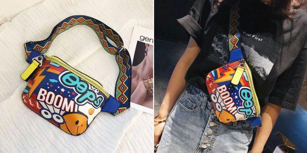 Красочная поясная сумка