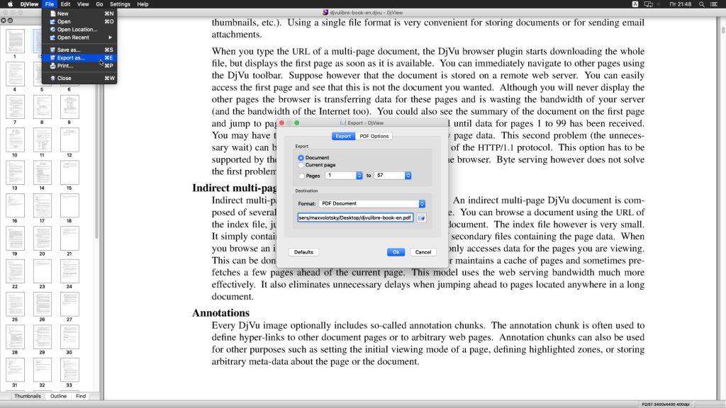 Конвертация DjVu в PDF: DjView