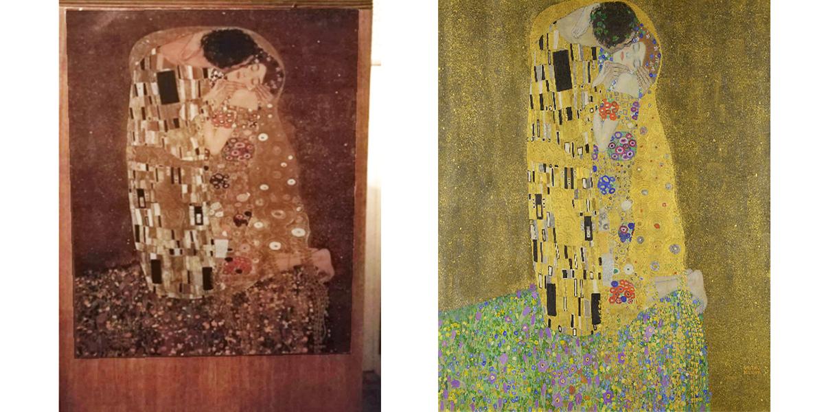 Интересные находки в квартирах: репродукция картины Густава Климта «Поцелуй»