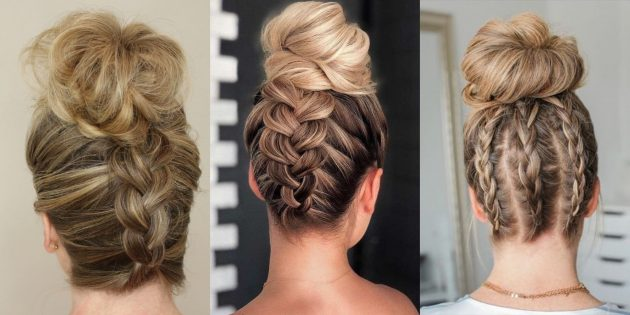 Причёска пучок: французская коса наоборот с пучком