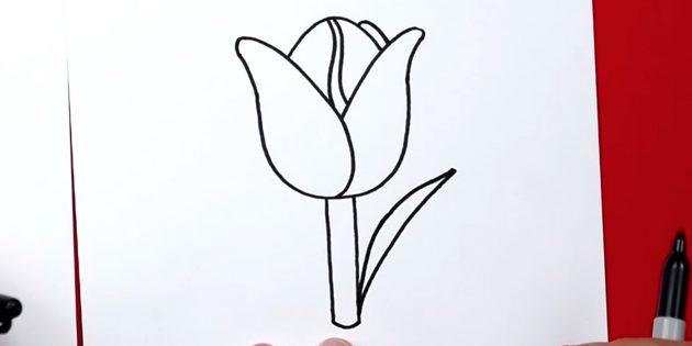 Как нарисовать тюльпан: начните рисовать правый лист