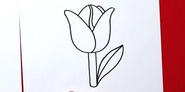 Как нарисовать тюльпан: дорисуйте правый лист