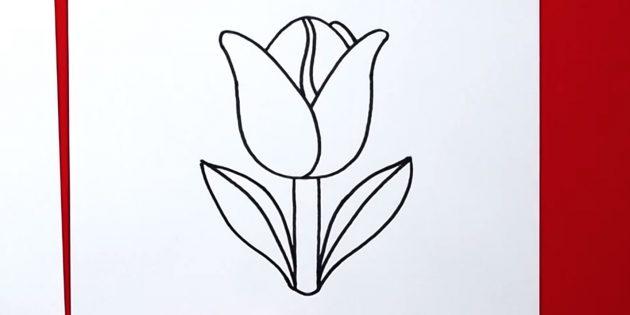 Дорисуйте тюльпан