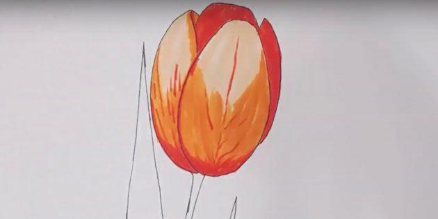 Добавьте красный цвет в правой части цветка