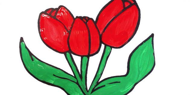 Как нарисовать простой букет тюльпанов