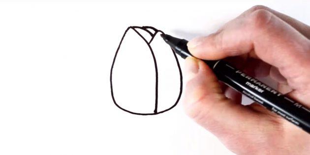 Как рисовать тюльпан: добавьте задние лепестки
