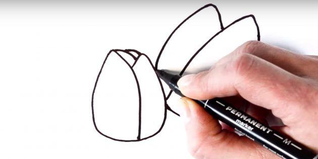Как рисовать тюльпан: дорисуйте левый лепесток