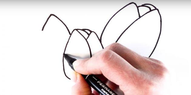Как рисовать тюльпан: начните рисовать левый бутон