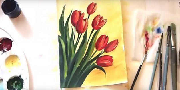 Как нарисовать реалистичный букет тюльпанов