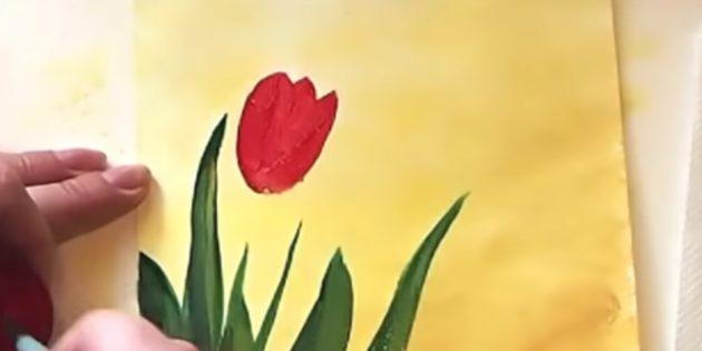 Как нарисовать букет тюльпанов: дорисуйте бутон