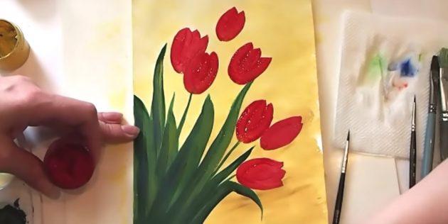 Как нарисовать букет тюльпанов: изобразите остальные бутоны